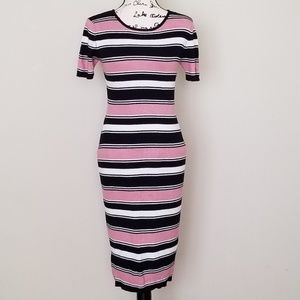 Jeuvre By Nastygal Ribbed Striped Fitted Dress